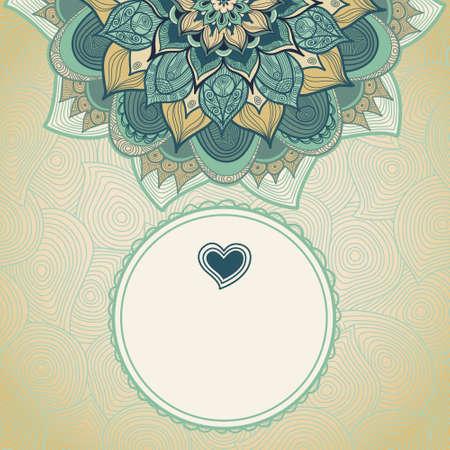 tarjeta de felicitación de la vendimia con remolinos y motivos florales en el estilo de este. Diseño del marco del modelo para la tarjeta de boda. frontera verde del vector en estilo retro. Lugar para el texto. Reserva.