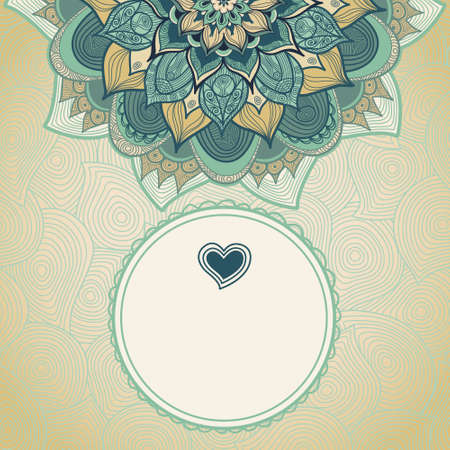 arab: Vintage greeting card with swirls and floral motifs in east style. Template frame design for wedding card. Green vector border in retro style. Place for your text. Save the date.