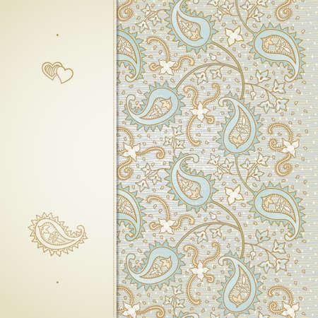 encajes: tarjeta de felicitaci�n de la vendimia con remolinos y motivos florales en el estilo de este. brillante fondo en estilo persa. Dise�o de la plantilla para la invitaci�n de la boda y tarjetas de felicitaci�n. Lugar para el texto. Reserva. Vectores