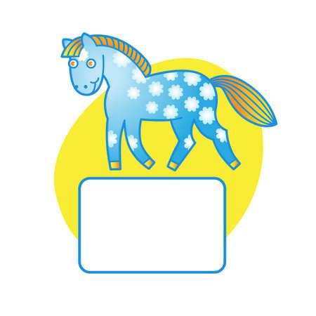 Een paard en plaats voor uw tekst. Elementen voor het ontwerp. Het frame ontwerp sjabloon. Het kan worden gebruikt voor het versieren van uitnodigingen, kaarten, decoratie voor tassen en kleding. Vector Illustratie