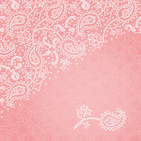 lace pattern: Vintage background with swirls and floral motifs in east style. Bright background in persian style. Template design for wedding invitation.You can place your text in the empty frame. Save the date.