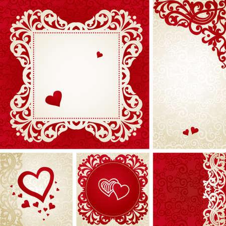 tarjetas de felicitación de la vendimia con remolinos y motivos florales en estilo victoriano. Diseño del marco del modelo para la tarjeta retro boda. vector de la frontera roja en estilo victoriano. Lugar para el texto. Reserva.