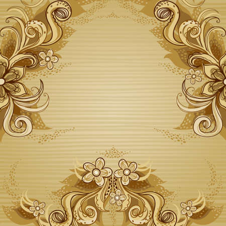 beige background: Vintage background with swirls and floral motifs in eastern style. Template frame design for retro wedding card. Floral vector border in pastel colors. Place for your text. Save the date.