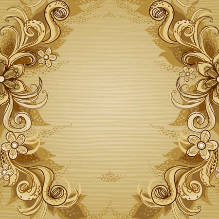 page borders: Vintage background with swirls and floral motifs in eastern style. Template frame design for retro wedding card. Floral vector border in pastel colors. Place for your text. Save the date.