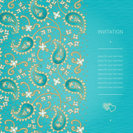 scroll work: Vintage ornate border with swirls and floral motifs in eastern style. Bright background in persian style. Template design for wedding invitation and greeting cards. Place for your text. Save the date.