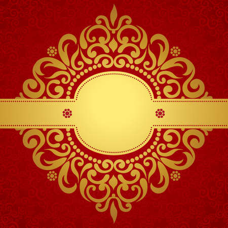 Vintage carte de voeux avec des remous et des motifs floraux dans le style de l'est. conception du châssis Modèle de rétro carte de mariage. Or vecteur frontière dans le style victorien. Placez votre texte. Réserve cette date. Vecteurs
