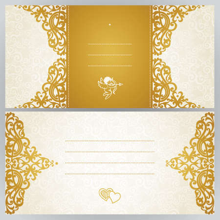 vintage lace: Vintage greeting cards with swirls and floral motifs in east style. Template frame design for retro wedding card. Golden vector border in Victorian style. Place for your text. Save the date.