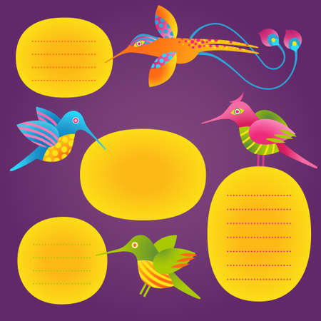 for text: Adorable vector set of bright text frames and humming-birds. Tropical birds. It can be used for decorating of invitations, cards, labels, design of price tags, decoration for bags and clothes.