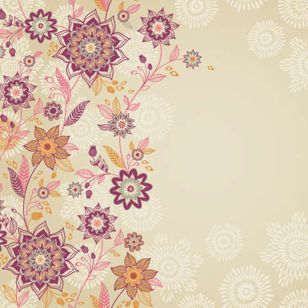 floral swirls: Vintage background with swirls and floral motifs in eastern style. Template frame design for retro wedding card. Floral vector border in pastel colors. Place for your text. Save the date.