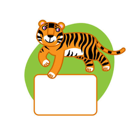 place for text: Vector illustration of cartoon tiger. Place for your text. Elements for design. Template frame design. It can be used for decorating of invitations, cards, decoration for bags and clothes.