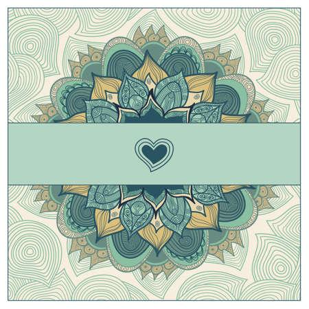 eleganz: Vintage-Grußkarten mit Strudeln und floralen Motiven in Ost-Stil. Template-Rahmen-Design für Hochzeit-Karte. Grüne Vektor-Grenze im Retro-Stil. Platz für Ihren Text. Speichern Sie das Datum.