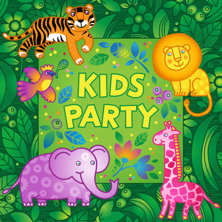 jungle foliage: Bright vector pattern with jungle animals. Kids party design template. Template for invitation, greeting cards, poster, placard. Illustration