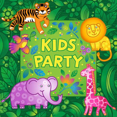 selva caricatura: vector patrón luminoso con animales de la selva. Plantilla de diseño de la fiesta. Plantilla para la invitación, tarjetas de felicitación, póster, cartel.