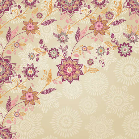 scroll tracery: Vintage background with swirls and floral motifs in eastern style. Template frame design for retro wedding card. Floral vector border in pastel colors. Place for your text. Save the date.