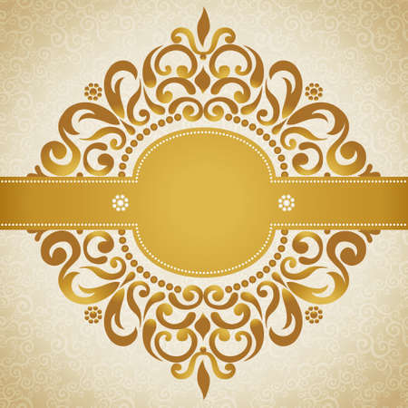 golden frame: Vintage greeting cards with swirls and floral motifs in east style. Template frame design for retro wedding card. Golden vector border in Victorian style. Place for your text. Save the date.