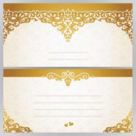 borde de flores: tarjetas de felicitación de la vendimia con remolinos y motivos florales en el este estilo. Diseño del marco del modelo para la tarjeta retro boda. Frontera del vector de oro en estilo victoriano. Lugar para el texto. Reserva.