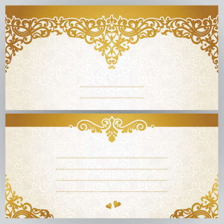 decoration    design: Vintage greeting cards with swirls and floral motifs in east style. Template frame design for retro wedding card. Golden vector border in Victorian style. Place for your text. Save the date.
