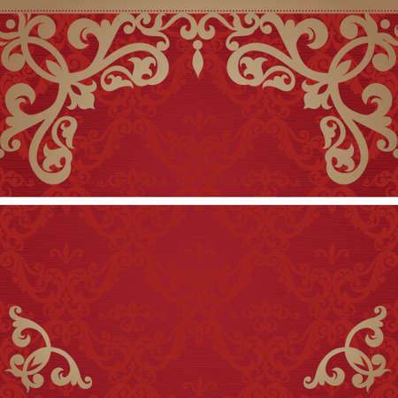 まんじと東スタイルで花のモチーフのビンテージ グリーティング カード。レトロなウェディング カードのテンプレート フレーム デザイン。ビクトリア朝様式の黄金のベクトル境界線。あなたのテキストのための場所。日付を保存します。