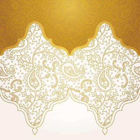 Vector de la frontera sin problemas adornado en estilo oriental. elemento para el diseño de oro. Esquema patrón de la vendimia para las invitaciones, cumpleaños y tarjetas de felicitación, papel pintado. decoración floral tradicional. relleno de patrón de Paisley.
