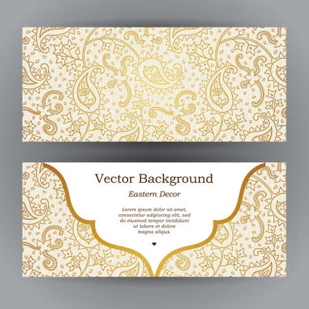 golden border: Ornate horizontal vintage cards. Outline golden decor in Eastern style. Template frame for save the date and greeting card, wedding invitation, leaflet, poster. Vector golden border, place for text.