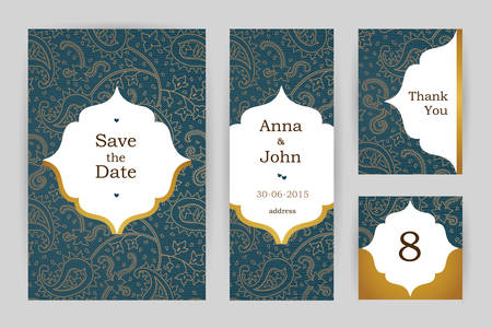 table decor: Ornate vintage ornate cards. Outline floral decor in Eastern style. Template frame for save the date and greeting card, wedding invitation, table number. Vector border with place for text. Easy to use, layered.