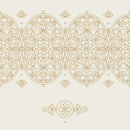 pattern antique: Vector ornate seamless border in Eastern style. Floral outline element for design. Line art vintage frame for invitations, birthday and greeting cards, certificate. Oriental monochrome decor.