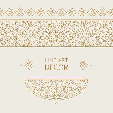 friso: Vector ornate seamless border in Eastern style. Floral outline element for design. Line art vintage frame for invitations, birthday and greeting cards, certificate. Oriental monochrome decor.