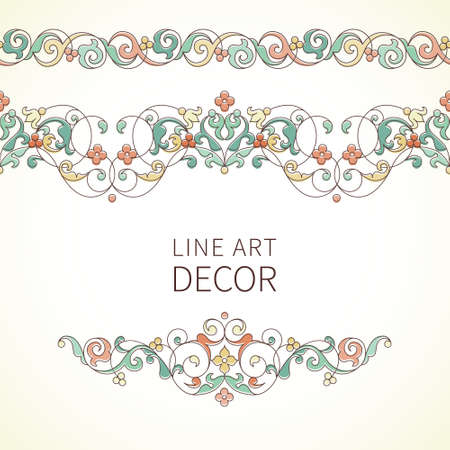 vintage design: Vector ornate seamless border in Eastern style. Outline element for design. Pastel vintage pattern for invitations, birthday and greeting cards, certificate. Traditional outline decor.