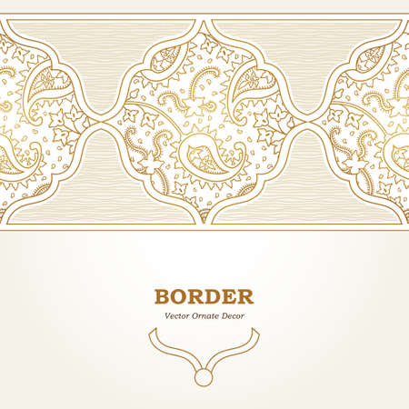 tile background: Vector ornate seamless border in Eastern style. Golden element for design. Outline vintage pattern for invitations, birthday and greeting cards, wallpaper. Traditional floral ornament. Paisley decor.
