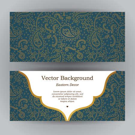 Vintage tarjetas horizontales ornamentados. Esquema de la decoración de Paisley en estilo oriental. marco del modelo para guardar la fecha y la tarjeta de felicitación, invitación de boda, certificado, folleto, cartel. frontera de oro vector con el lugar para el texto.