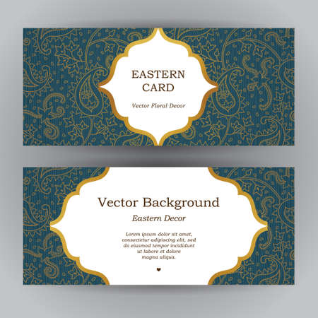 golden border: Ornate horizontal vintage cards. Outline paisley decor in Eastern style. Template frame for save the date and greeting card, wedding invitation, certificate, leaflet, poster. Vector golden border with place for text.