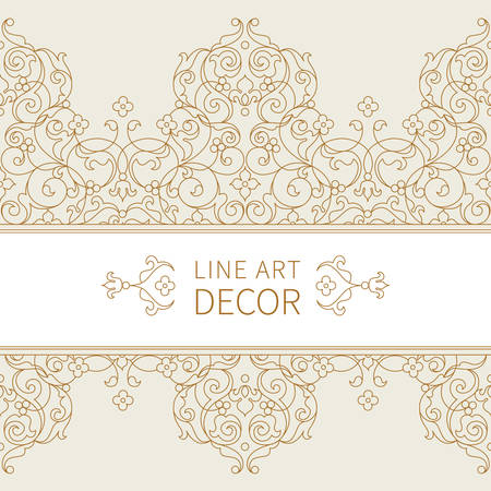 victorian pattern: Vector ornate seamless border in Eastern style. Floral outline element for design. Line art vintage frame for invitations, birthday and greeting cards, certificate. Oriental monochrome decor.