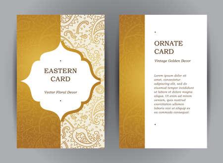 華やかな垂直ヴィンテージのカードのベクトルを設定します。東部様式の黄金の装飾の概要を説明します。保存日付、グリーティング カード、結婚