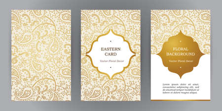 Vector set of ornate vertical vintage cards. Outline golden decor in Eastern style. Template frame for save the date and greeting card, wedding invitation, leaflet, poster. Ornamental border, place for text. Vettoriali