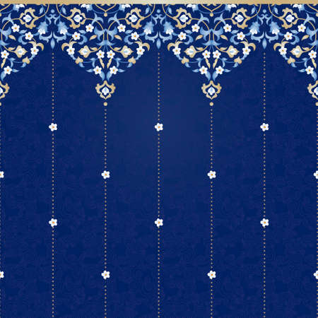 vintage lace: Vector ornate seamless border in Eastern style. Bright element for design. Floral vintage pattern for invitations, birthday and greeting cards, wallpaper. Traditional arabic decor on blue background.