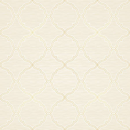vintage element: Vector seamless pattern with line art golden ornament. Vintage paisley element for design in Eastern style. Ornamental lace tracery. Ornate floral decor for wallpaper. Endless outline texture.