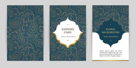 華やかなヴィンテージの華やかなカード。東部のスタイルで花の装飾の概要を説明します。日付とグリーティング カード、結婚式招待状のテンプレ  イラスト・ベクター素材