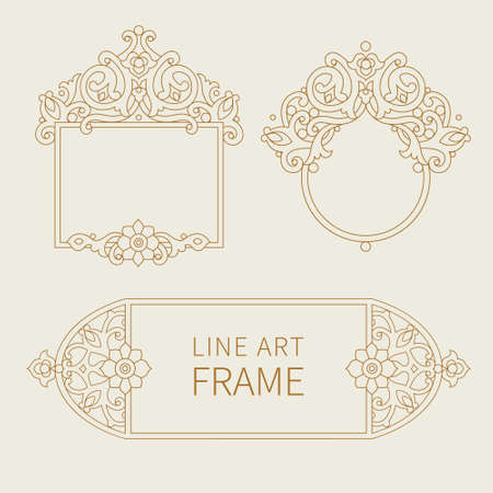 decorative frames: Vector decorative frames in Eastern style. Elegant element for design template. Outline floral border. Line art decor for birthday and greeting card, wedding invitation, thank you message.