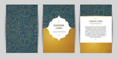 tarjetas adornadas de la vendimia. Esquema de la decoración de Paisley en estilo oriental. marco del modelo para guardar la fecha y la tarjeta de felicitación, invitación de boda, certificado, folleto, cartel. frontera de oro vector con el lugar para el texto.