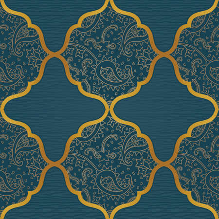 east: Vector seamless pattern with line art golden ornament. Vintage paisley element for design in Eastern style. Ornamental lace tracery. Ornate floral decor for wallpaper. Endless outline texture.