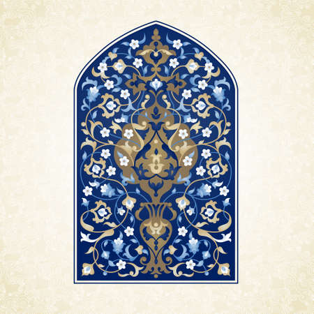 Bright floral illustration with place for text. Vector ornate pattern in Eastern style. Vintage element for design. Traditional arabic decor. Oriental blue ornament for greeting cards. Vettoriali