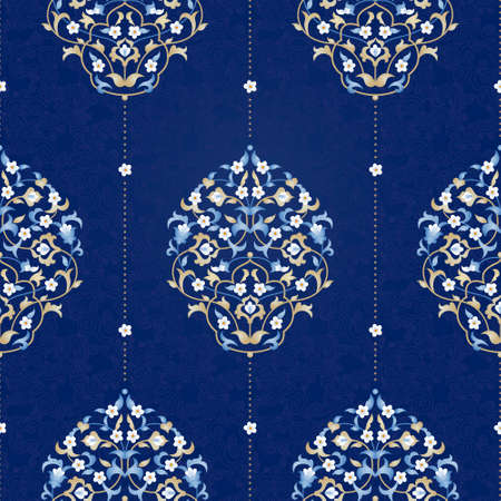 Vector seamless pattern with bright floral ornament. Vintage element for design in Eastern style. Ornamental lace tracery. Ornate floral decor for wallpaper. Traditional arabic decor on blue background.