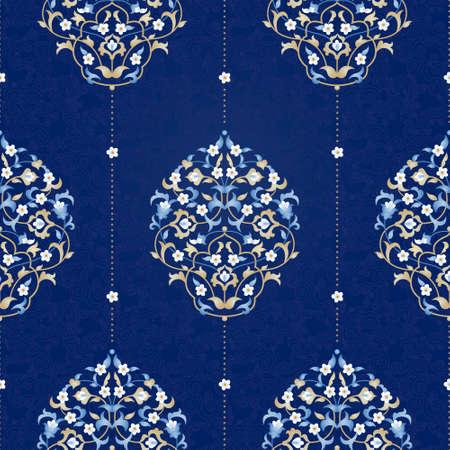 Vector naadloos patroon met heldere bloemen ornament. Vintage element voor ontwerp in Oost-stijl. Ornamental lace maaswerk. Sierlijke bloemen decor voor behang. Traditionele Arabische decor op een blauwe achtergrond. Stock Illustratie