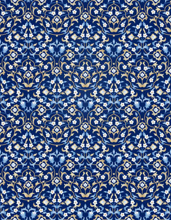 ornate: Vector seamless pattern with bright floral ornament. Vintage design element in Eastern style. Ornamental lace tracery. Ornate floral decor for wallpaper. Traditional arabic decor on blue background. Illustration