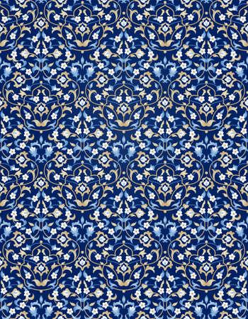 verschnörkelt: Vektor nahtlose Muster mit hellen Blumenverzierung. Vintage-Design-Element in Ost-Stil. Zier Spitze Maßwerk. Aufwändige Blumendekor für den Hintergrund. Traditionelle arabische Dekor auf blauem Hintergrund. Illustration
