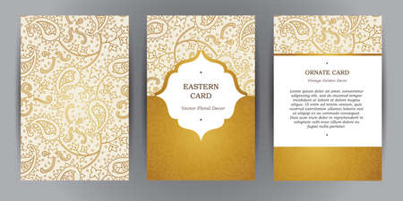 Vector set of ornate vertical vintage cards. Outline golden decor in Eastern style. Template frame for save the date and greeting card, wedding invitation, leaflet, poster. Ornamental border, place for text.  イラスト・ベクター素材