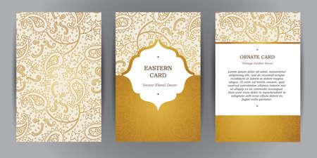 tarjeta de invitacion: Conjunto de vectores de tarjetas de cosecha verticales ornamentados. Esquema de la decoraci�n de oro en estilo oriental. marco del modelo para guardar la fecha y la tarjeta de felicitaci�n, invitaci�n de la boda, folleto, cartel. frontera ornamental, el lugar de texto.