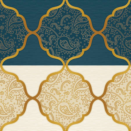 Vector ornate seamless border in Eastern style. Golden element for design. Outline vintage pattern for invitations, birthday and greeting cards, wallpaper. Traditional floral decor. Paisley pattern fill.