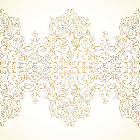 pattern antique: Vector ornate seamless border in Eastern style. Floral outline element for design. Line art vintage frame for invitations, birthday and greeting cards, certificate. Oriental golden decor.