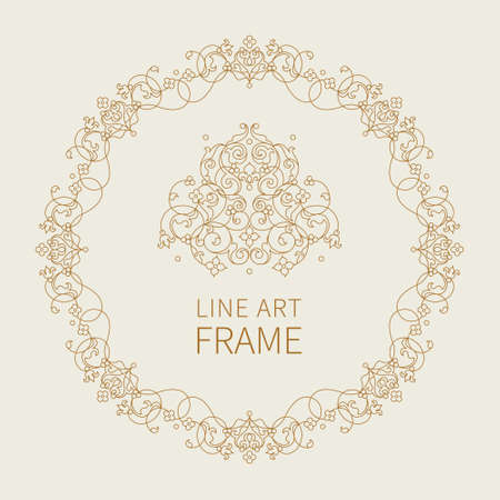 vignettes: Vector line art frame for design template. Elegant element in Eastern style. Outline floral border and decor. Monochrome lace decor for invitations, greeting cards, certificate, thank you message.
